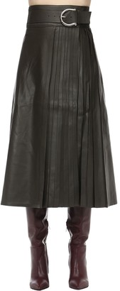 Dodo Bar Or BELTED LEATHER MIDI SKIRT W/ PLEATS