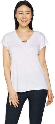 Lisa Rinna Collection Hacci Knit Top with Neckline Detail