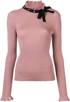 RED Valentino neck-tied ribbed sweater