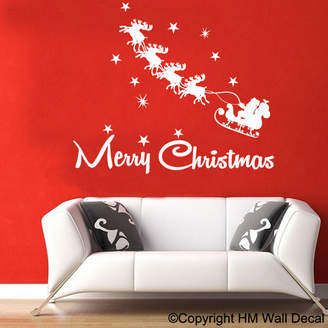 Sleight and Reindeers Christmas Santa Wall Sticker