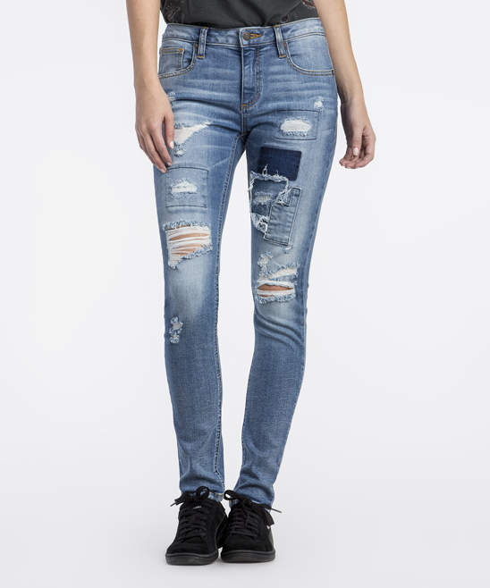 Light Blue Distressed Patch-Accent Skinny Jeans - Women