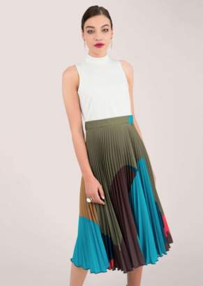 28af4eceffa8 Closet Sleeveless High Neck Midi Dress with Printed Pleated Skirt - 8