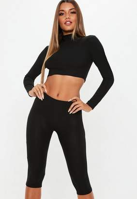 Missguided Black Biker Shorts And High Neck Long Sleeve Crop Top Co Ord