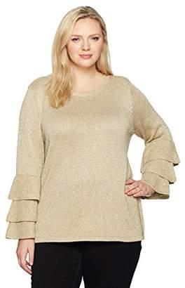 Calvin Klein Women's Plus Size Lurex 3 Ruffle Crewneck
