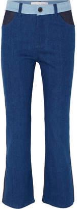 Victoria Beckham Victoria, Cali Color-block Mid-rise Straight-leg Jeans - Mid denim