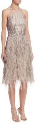 David Meister Feather-Accented Halter Dress
