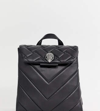 Kurt Geiger London Kensington mini black leather quilted flap over backpack