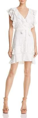 Lucy Paris Ruffled Lace Faux-Wrap Dress