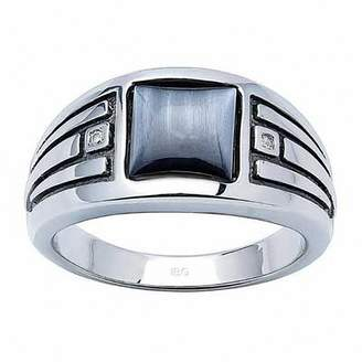 Zales Men's Square Simulated Cat's Eye and Diamond Accent Ring in Sterling Silver