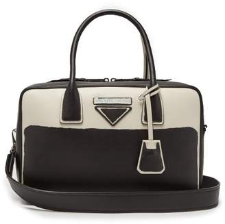 Prada Leather Bowling Bag - Womens - Black White