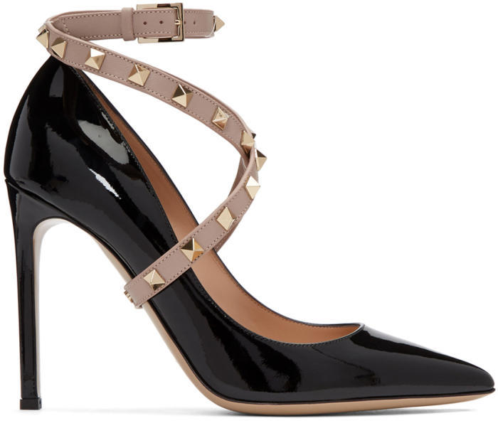 Valentino Black Valentino Garavani Patent Studwrap Heels