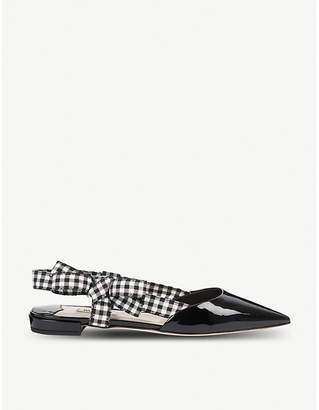Miu Miu Patent-leather slingback pointed-toe flats