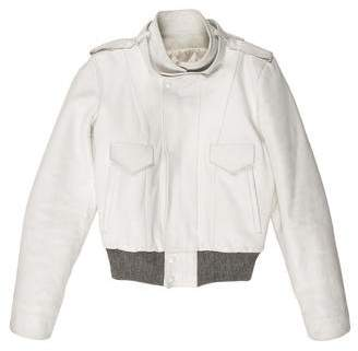 Balenciaga Knit-Trimmed Leather Jacket