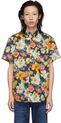 Naked & Famous Denim Denim Orange Flower Painting Easy Shirt