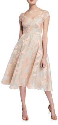 Lela Rose Floral Jacquard Full-Skirt Dress
