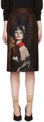 Prada Brown Mikado Girl Poster Skirt