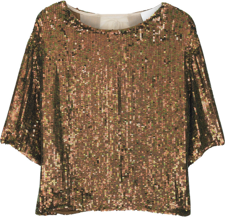 3.1 Phillip Lim Cropped silk sequined top