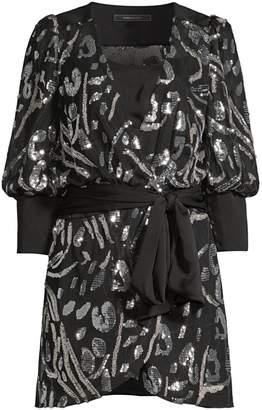 BCBGMAXAZRIA Abstract Sequin Blouson Mini Wrap Dress