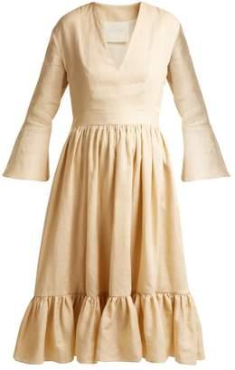 Loup Charmant - Sea Island Bell Sleeve Linen Dress - Womens - Cream