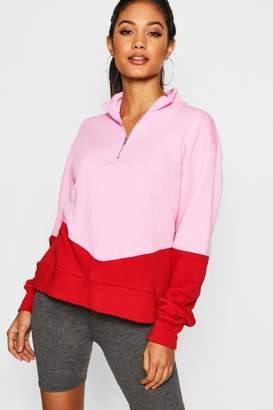 boohoo Colour Block Zip Through Sweater