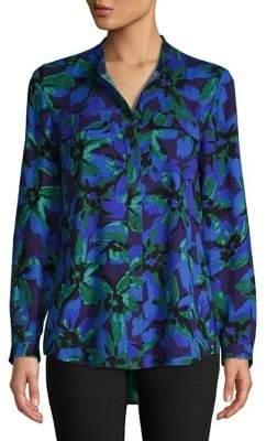 Isaac Mizrahi IMNYC Collarless Utility-Pocket Shirt