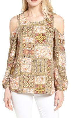 Women's Bobeau Print Cold Shoulder Top $49 thestylecure.com