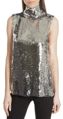 Tibi Sequin Silk Shell Tank