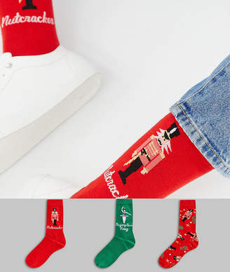 Asos Design DESIGN 3 pack Holidays socks with nutcracker design in gift box save