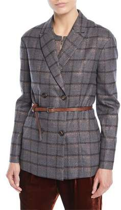 Brunello Cucinelli Double-Breasted Metallic Plaid Blazer w/ Leather Belt