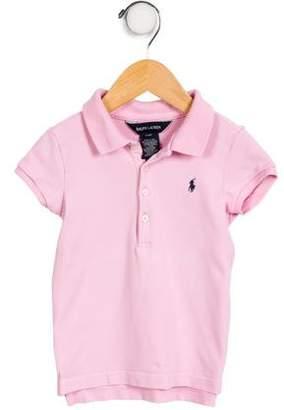 Ralph Lauren Girls' Short Sleeve Polo Top