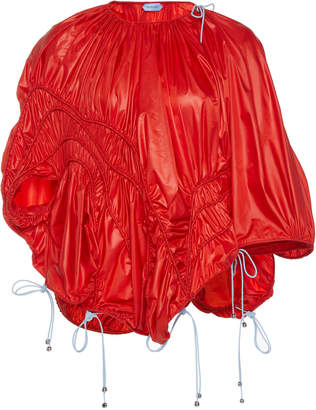 Thierry Mugler One-Shoulder Coated Parachute Top