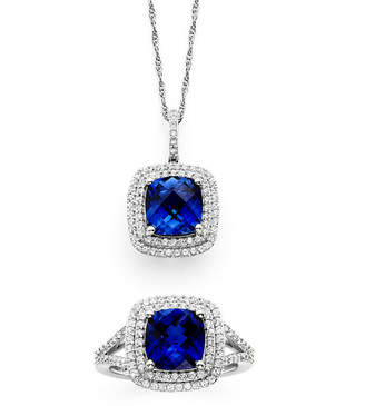 JCPenney FINE JEWELRY Lab-Created Blue & White Sapphire Sterling Silver Pendant Necklace and Ring Set