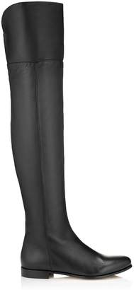 Jimmy Choo MITTY FLAT Black Grainy Calf Leather Flat Over the Knee Boots