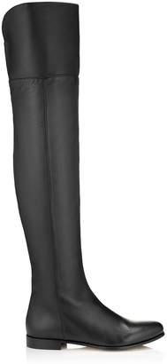 ba22b27ae08 Jimmy Choo MITTY FLAT Black Grainy Calf Leather Flat Over the Knee Boots
