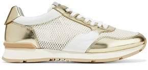 Giorgio Armani Mirrored-Leather And Mesh Sneakers