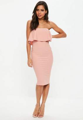 Missguided Rose Bandeau Frill Midi Dress