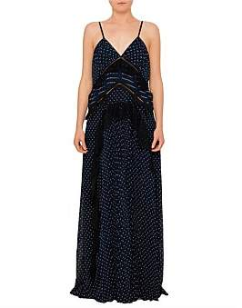 Self-Portrait Navy Plumetis Maxi Dress