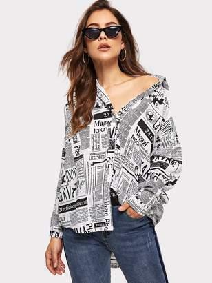 Shein Newspaper Print Curved Hem Shirt