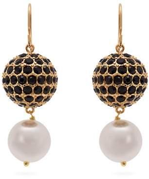 Erdem Crystal Embellished Pearl Drop Earrings - Womens - Black