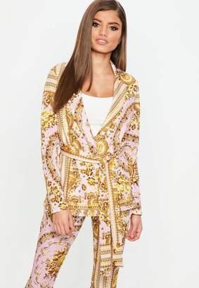 Missguided Pink Chain Print Tie Waist Blazer
