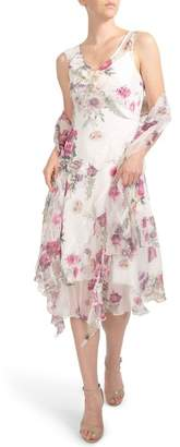Komarov Floral Print Ruffle Midi Dress & Shawl (Regular & Petite)