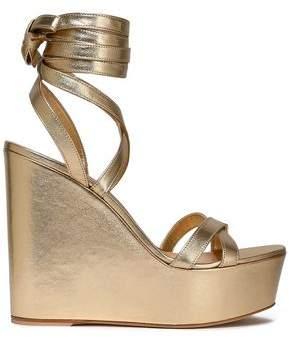 Gianvito Rossi Metallic Leather Wedge Sandals