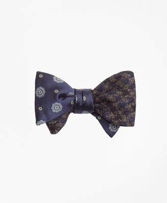 Brooks Brothers Spaced Medallion with Multi-Check Reversible Bow Tie