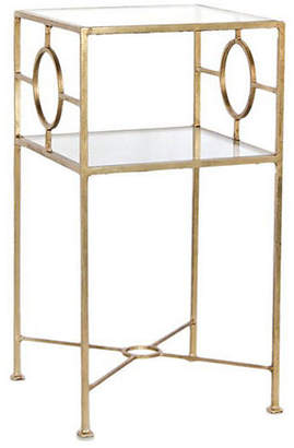 One Kings Lane Ellis Glass-Top Side Table - Gold