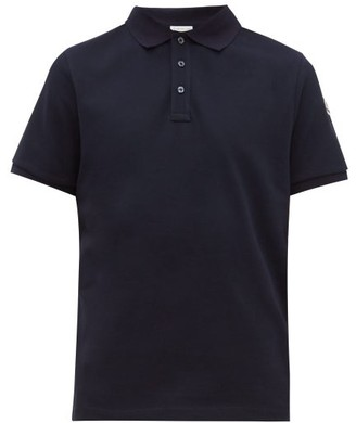 Moncler Logo Print Striped Undercollar Cotton Polo Shirt - Mens - Navy