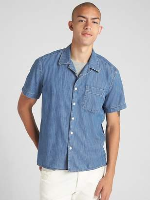 Gap Standard Fit Short Sleeve Shirt in Denim