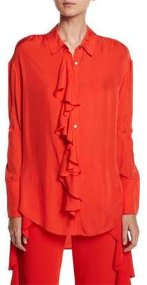 Cinq à Sept Rosalie Ruffled Button-Front Long-Sleeve High-Low Twill Top