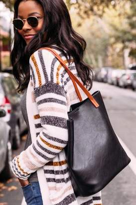 francesca's Eleanor Soft Vegan Leather Tote - Black