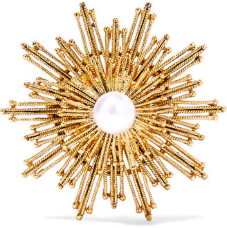Oscar de la Renta - Gold-tone Faux Pearl Brooch $175 thestylecure.com
