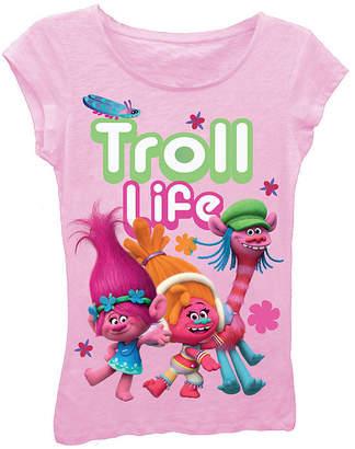 Asstd National Brand Trolls Girls' Troll Life Short Sleeve Graphic T-Shirt with Crystalline